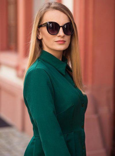 Sukienka zielona szmizjerka
