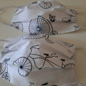 jednorazowe maseczki ochronne białe ze wzorem rowery